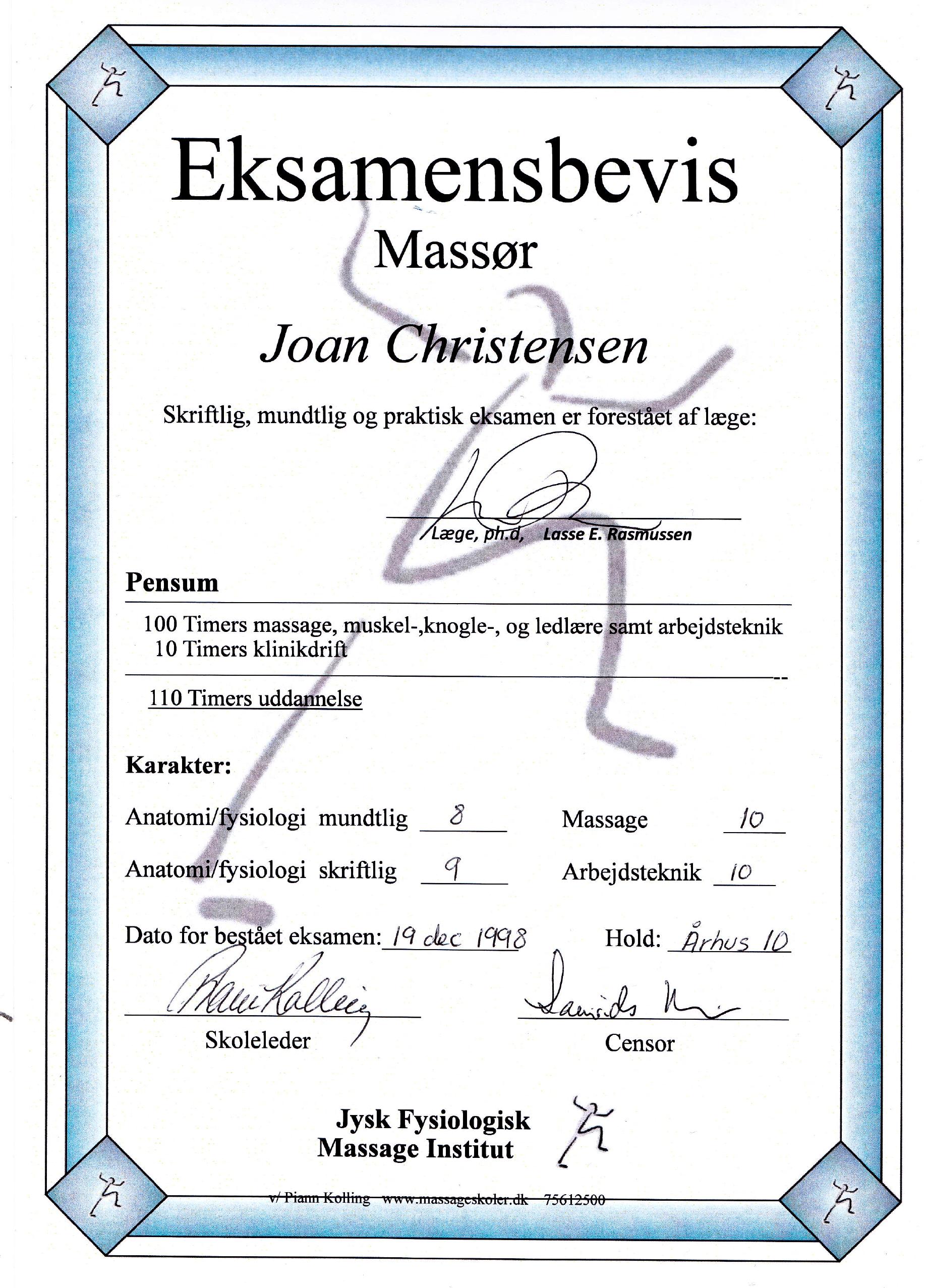 Certifikat Fysiologisk massage